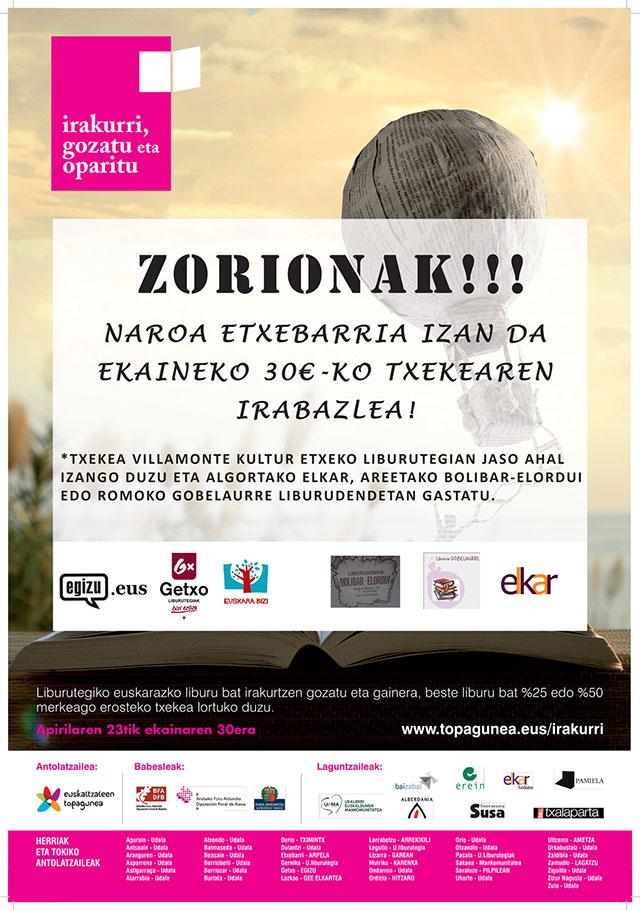 Irakurri, Gozatu eta Oparitu: ekaineko irabazlea Naroa Etxebarria